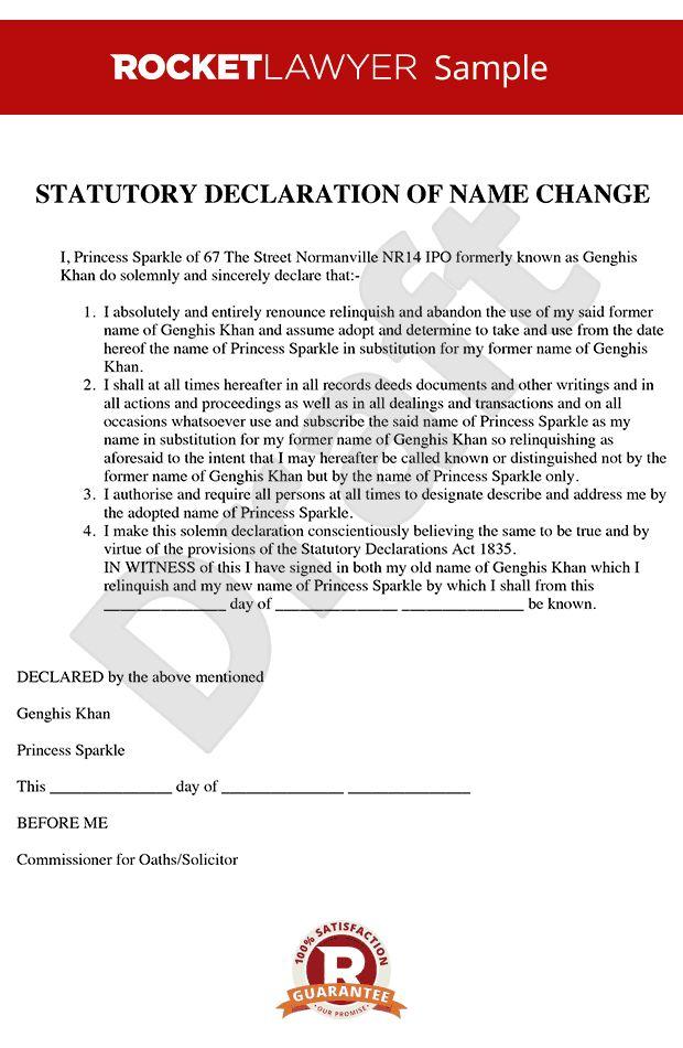 Declaration Name Change - Statutory Declaration Change of Name