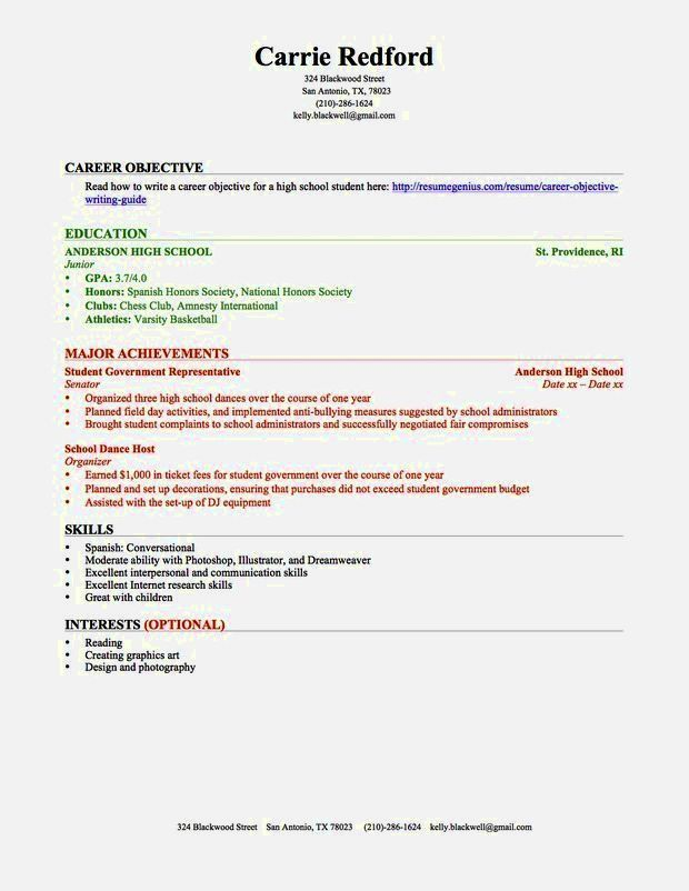 Resume For High School Student Template. Resume With High School ...