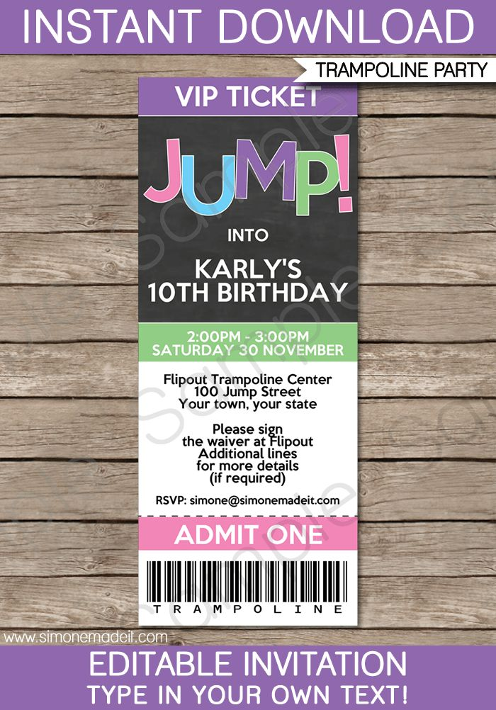 Trampoline Birthday Party Ticket Invitations | Girls