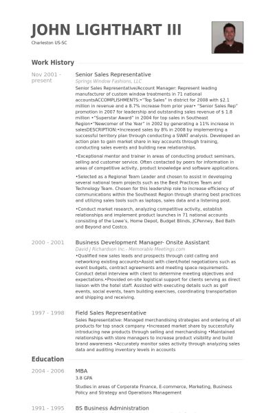 Senior Sales Representative Resume samples - VisualCV resume ...