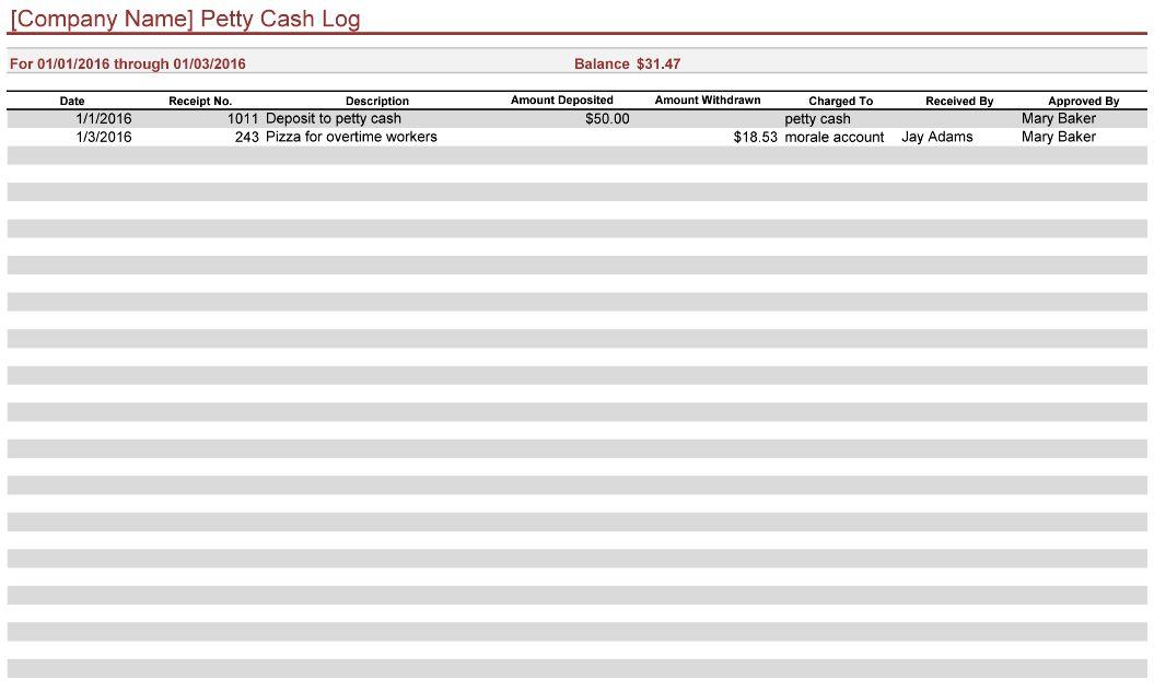 petty cash log pdf
