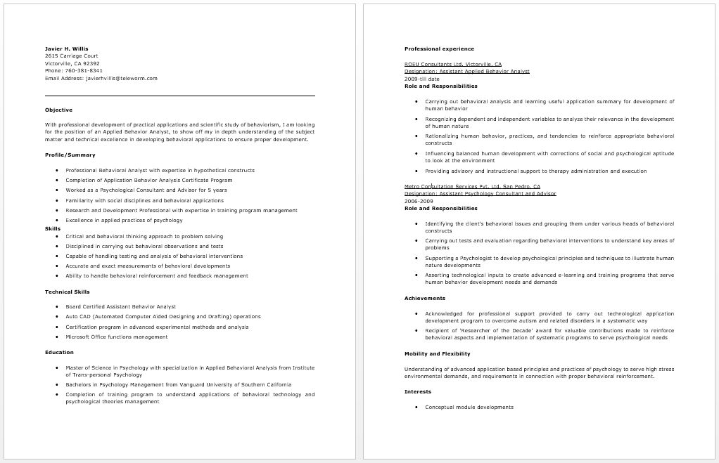 Applied Behavior Analyst Resume | Resume / Job | Pinterest ...