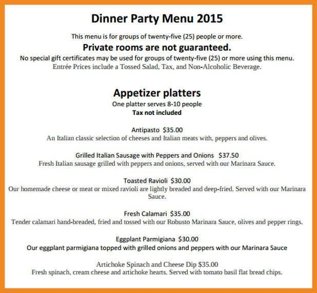 dinner party menu template | art resume examples