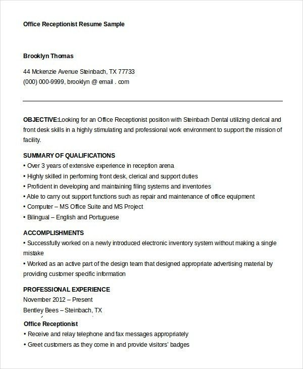 Receptionist Resume Example - 9+ Free Word, PDF Documents Download ...