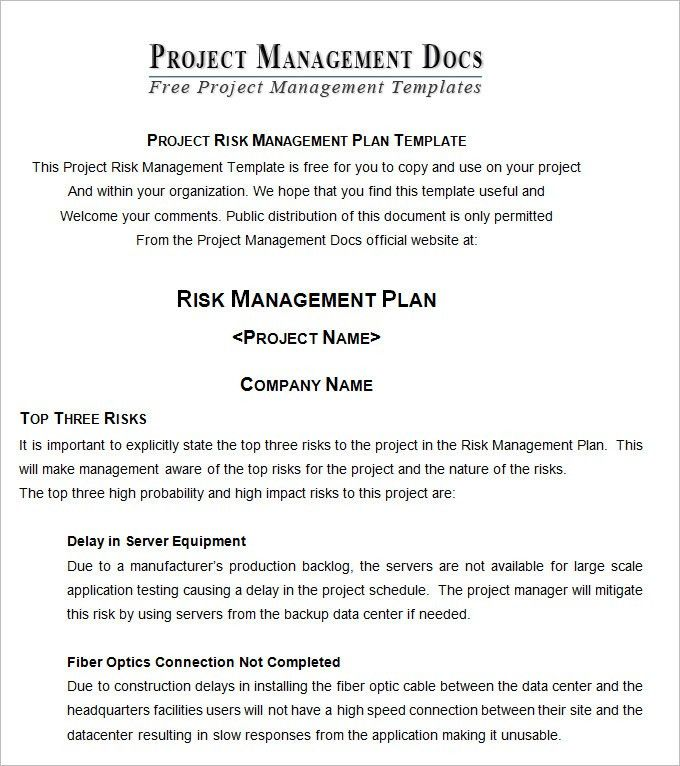 Risk Management Plan - Free Word Documents Download | Free ...