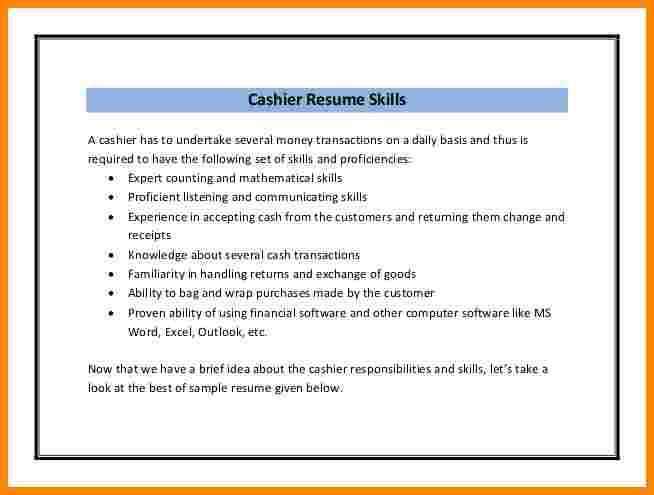 food service cashier resume sample also restaurant retail cashier ...