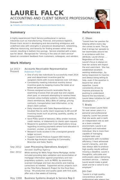 Representative Resume samples - VisualCV resume samples database