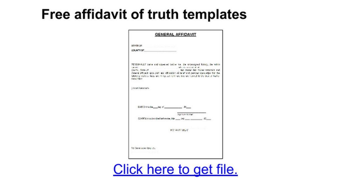 Free affidavit of truth templates - Google Docs
