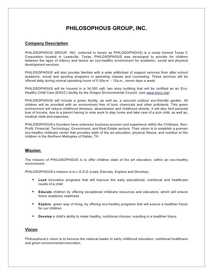 Sample Business Plan Synopsis