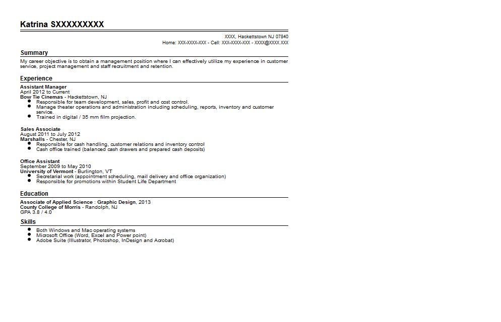 Movie Theatre Assistant Manager Resume Sample | Quintessential ...