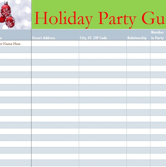 Holiday Party Guest List - My Excel Templates