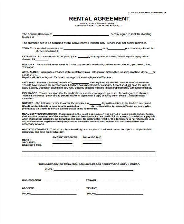 7+ Generic Rental Agreement Form Samples   Free Sample, Example .