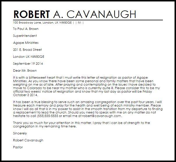 Resignation Letter Format: Perfect Decorating Pastoral Resignation ...