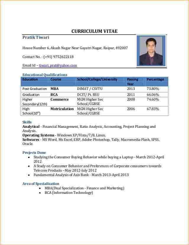 A good cv format for freshers - Business Proposal Templated ...