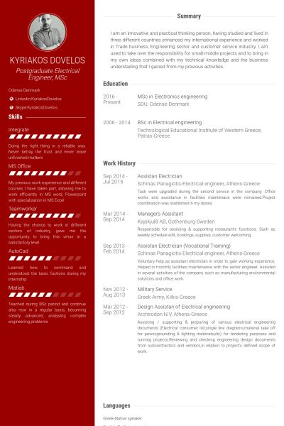 Electrician Resume samples - VisualCV resume samples database