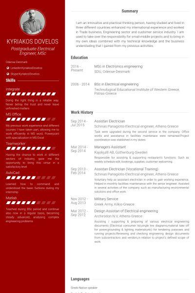 Electrician Resume samples - VisualCV resume samples database