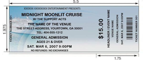 Custom ticket printing for cruises, boat trips, sailing events ...