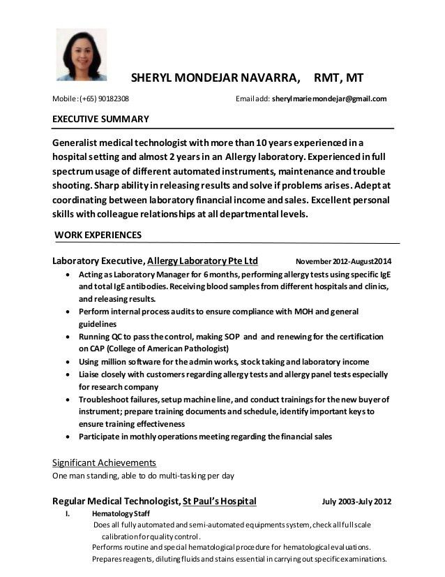 Download Medical Technologist Resume | haadyaooverbayresort.com