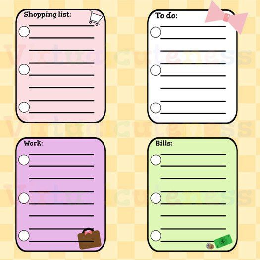 To Do Lists Clipart - Shopping List, Bills, Work, Printable ...