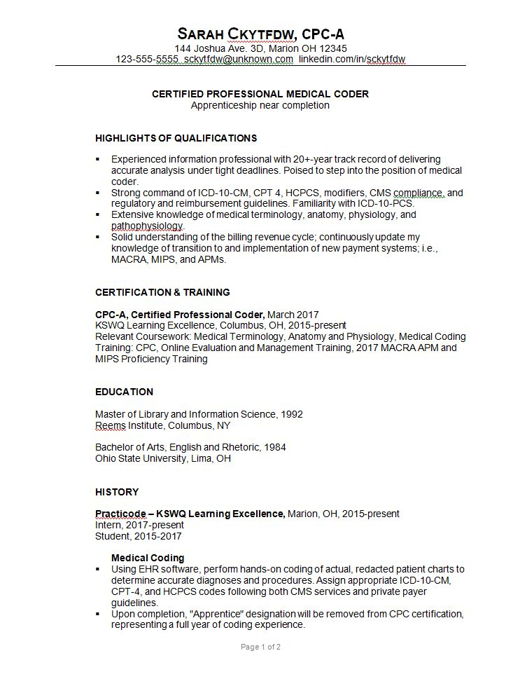 Resume Sample for a Medical Coder - Susan Ireland Resumes