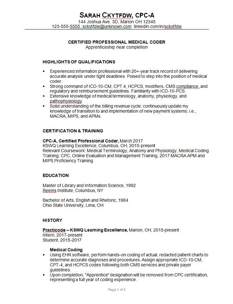 medical coder cover letter