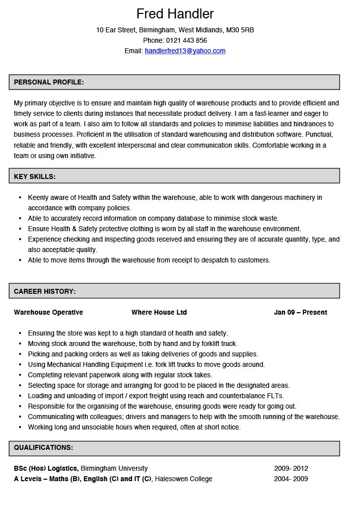 Warehouse Operative CV Example | Hashtag CV