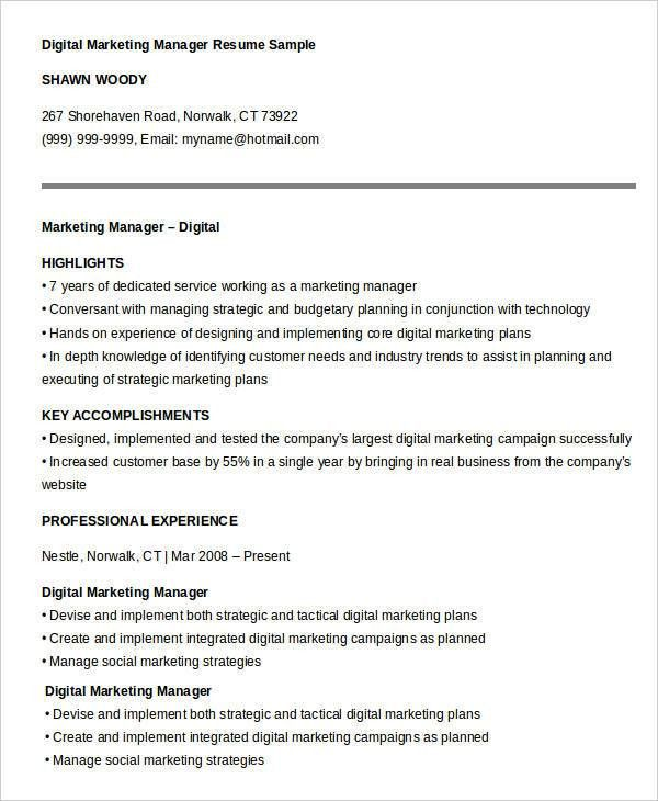 marketing manager resume template marketing manager resume free