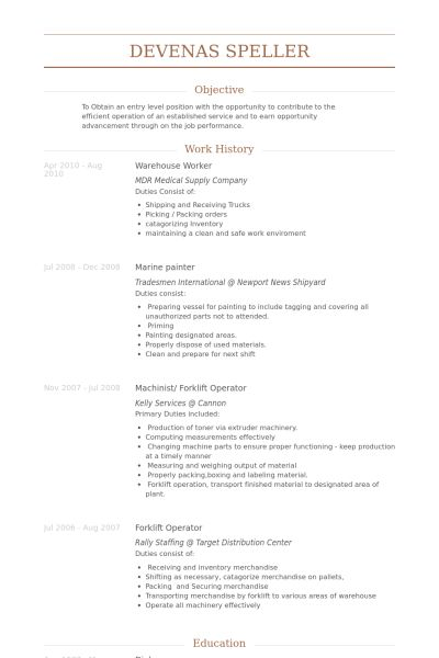 warehouse worker resume. warehouse associate resume sample ...