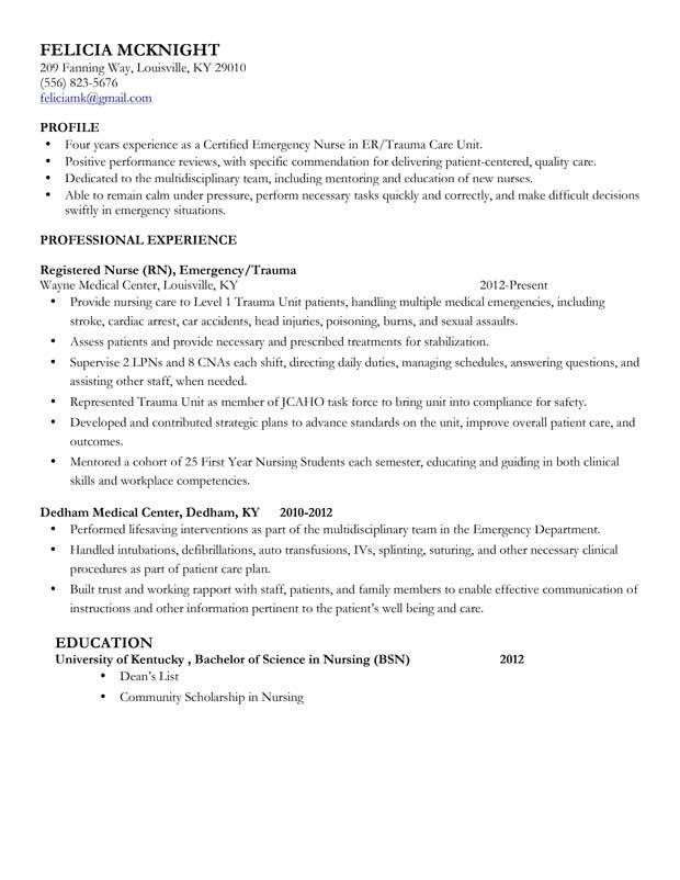 Resume Examples. 10 good detailed completed examples of nursing ...