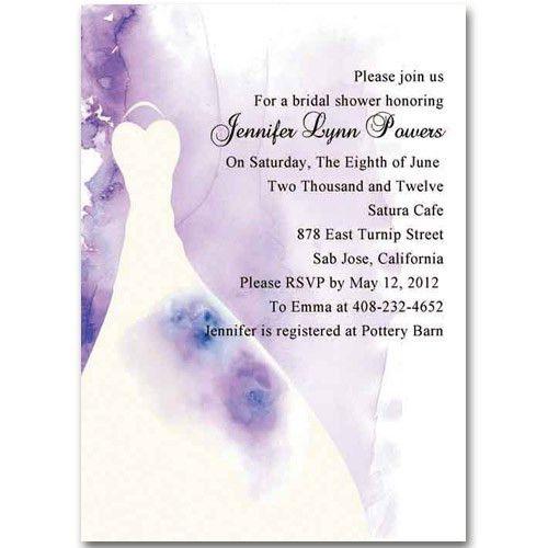 elegant wedding dress purple invitations for bridal shower EWBS013 ...