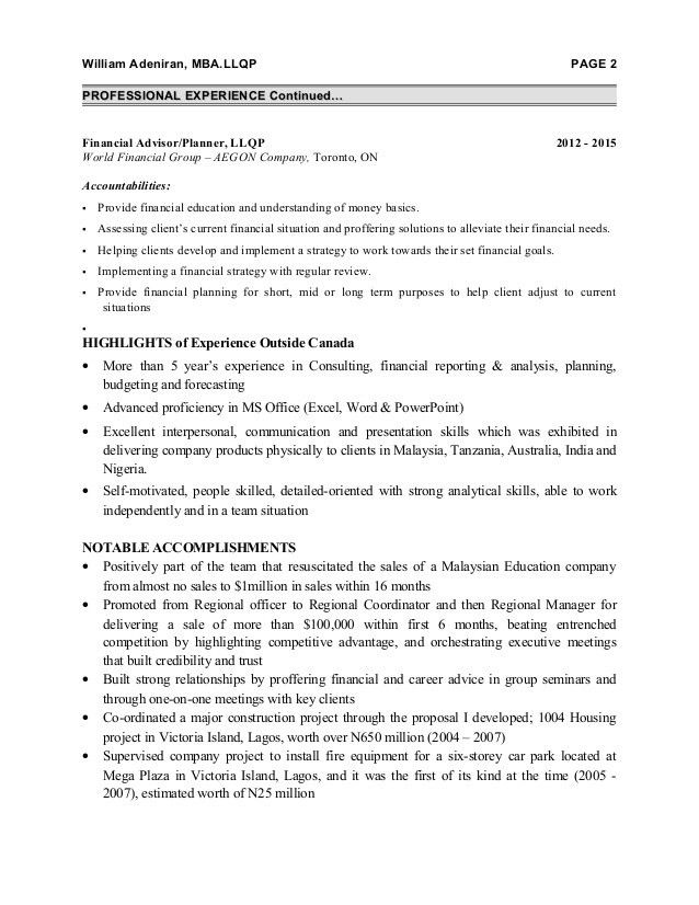 Distribution,Finacial Advisor - Resume for Malaysia