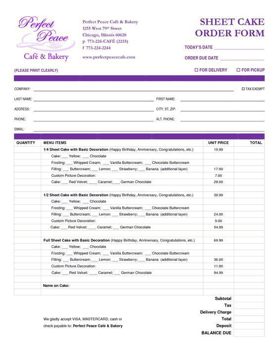 cake order form template free download - Google Search | cakes ...