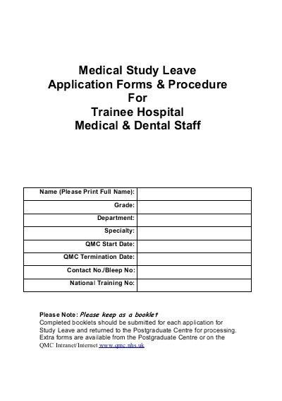 Medical Study Leave Application Forms & Procedure For Trainee ...