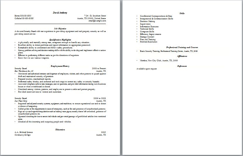 10 Professional Guard Security Resume Sample - Writing Resume ...