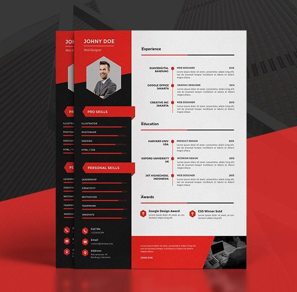 Modern CV/Resume Templates + Cover Letter & Portfolio Page ...