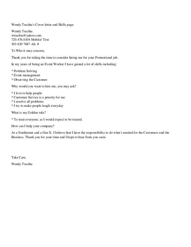 Wendy Trachta Short Cover Letter and Skills page (PDF)