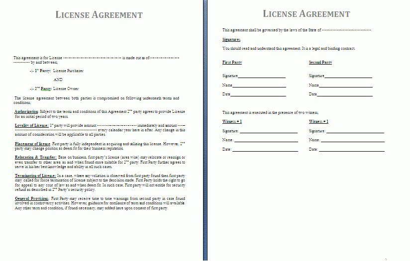 License Agreement Template | Free Agreement Templates