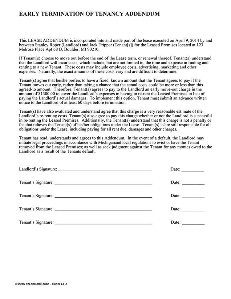 Early Lease Termination Addendum | EZ Landlord Forms
