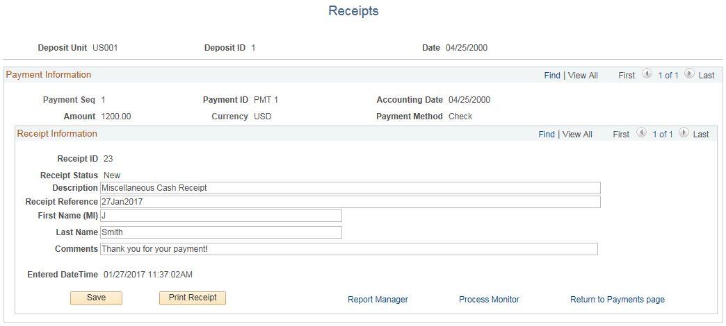 Generating a Miscellaneous Cash Receipt