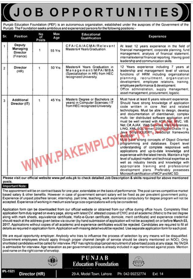 Pakistan Employment: Punjab Education Foundation (PEF) Jobs Latest ...