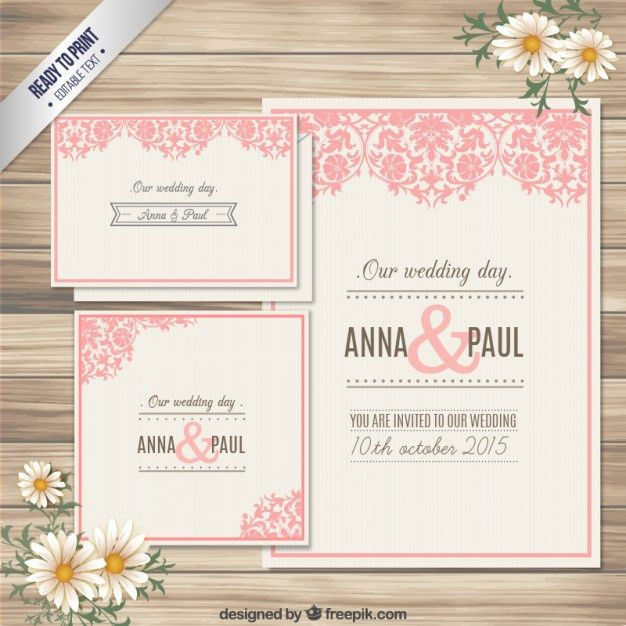 Ornamental wedding invitation card Vector | Free Download