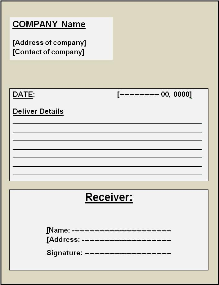 Delivery Receipt Template | Free Printable Word Templates,