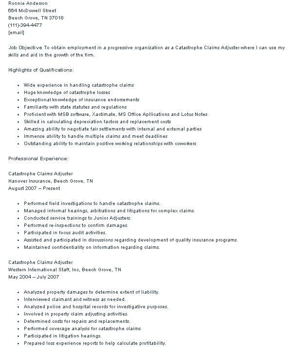 Claims Adjuster Resume Cover Letter. food cover letter sample ...