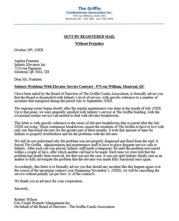 Condo association complaint letter to elevator company re: poor ...