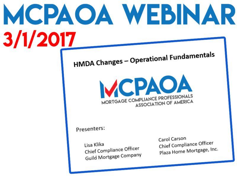 MCPAOA Webinar: HMDA Changes – MCPAOA – Mortgage Compliance ...