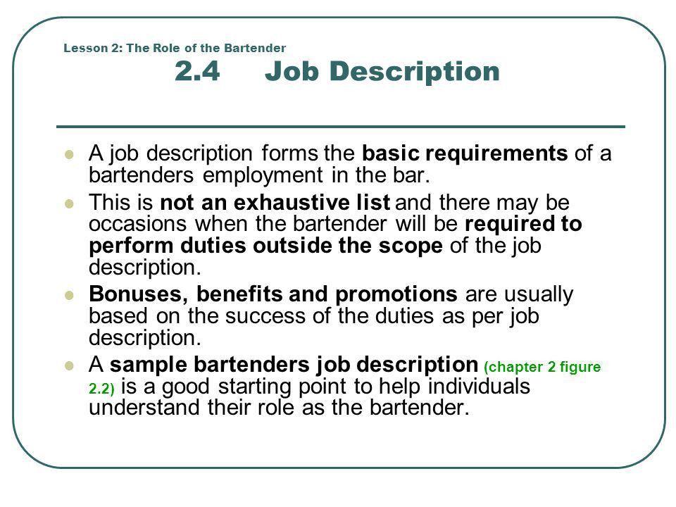 job description bartender
