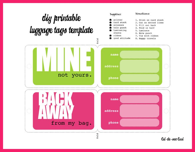 Printable Luggage Tags Template. template of luggage tag free ...