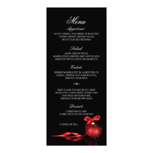 christmas dinner menu cards template – Invitations 4 U