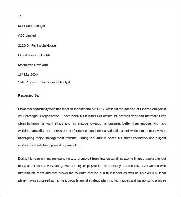 Sample Financial Reference Letter Template - 6+ Free Documents in ...