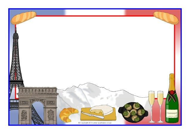 France-themed A4 page borders (SB10564) - SparkleBox